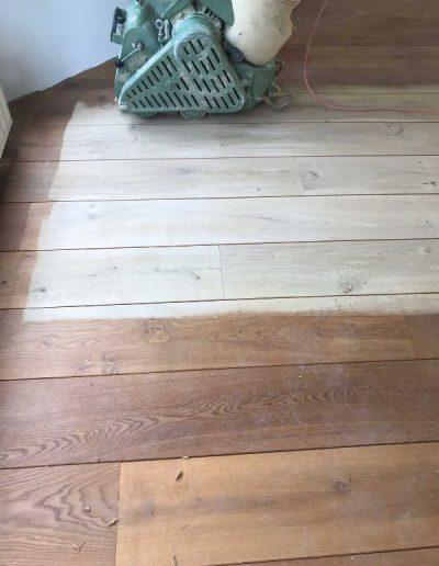 Houten parketvloer schuren - voor en na